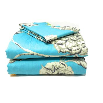 Tache Cotton Butterfly Wonderland Aqua Floral Fitted Sheet (2142FIT)