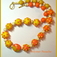 Bright & Bold Necklace Orange Yellow 20 in. Handcrafted Statement Necklace 3 Dimensional Dots Unique OOAK Sunny Yellow Bright Orange