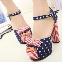 US Flag Print High Heel Sandals for Women US002