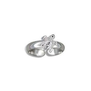 SILVER 925 HAWAIIAN SHINY SEA TURTLE TOE RING
