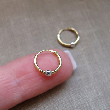 Ball Gold Hoop Earrings. Endless Small Sleeper Hoops. 8mm, 10mm, 12mm - Cartilage, Tragus, Seamless, Catchless, Everyday Earrings / Medium