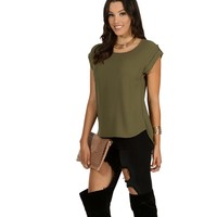 Olive Roll With It Blouse