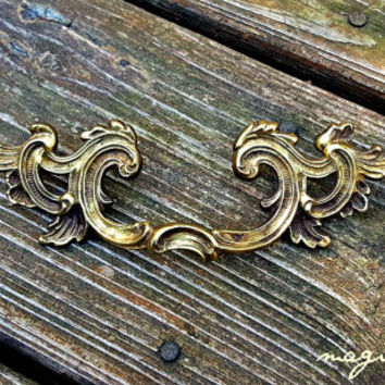 French Provincial Drawer Pulls Brass Drawer Pulls Vintage Drawer Pulls French Country Farmhouse Dresser Pulls KBC Decorative Drawer Pulls