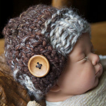 Hand knitted chunky beanie hat, flap button detail - photo prop or gift - Hand Knit Baby Children Girl Boy Hat Clothing - all sizes made