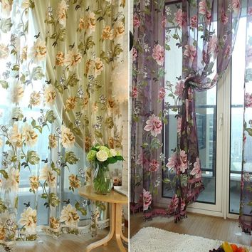 Best Price For Pretty Floral Panel Sheer Drape Scarf Valances Tulle Voile Window Curtain