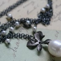 Gardenia Necklace - Oxidized Silver And Fresh Water Pearls | Luulla