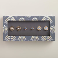 Gold and Blue Cluster Stud Earrings, Set of 3 - World Market