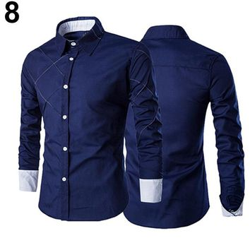 Men Casual Business Buttoned Formal Long Sleeve Shirt size mlxl