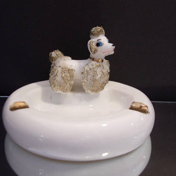 Lefton White Poodle Ashtray Retro Kitsch Collectible Home Decor Ring Jewelry Trinket Holder Dish