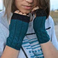 FREE SHIPPING emerald fingerless gloves, women knit gloves, wool gloves, handknit arm warmer