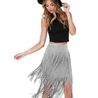 Suede Skirt with Fringing