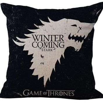 GAME OF THRONES THE WINTER IS COMING STARK emoji pillow massager decorative pillows art  home bar stark family epic poem gift