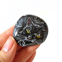 Black Cat Art, Pet Portrait, Hand Painted Rock, Memorial Stone, Original Painting, Cat Lover Gift, Yellow Eyes, Kitty Loaf, Keepsake Gift