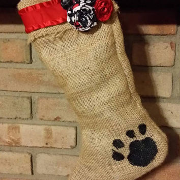 Pet Stocking - Burlap Dog or Cat Stocking - Handmade - Free Personalization!!!