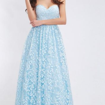 Light Blue Bridesmaid Dresses New Collections Sweetheart Backless A-Line Maxi Long Prom Dresses Special Occasion Gown