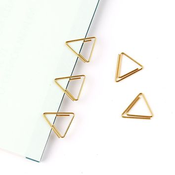 Gold Triangle Shaped Paper Clips - 10 pcs