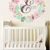 Personalized Name Wall Decal Flowers Custom Full Color Mural for Nursery Girls Name Colorful Vinyl Sticker SD9