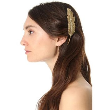 European Style Stylish Gold/Antique Gold-color Chunky Big Metal Feather Hair Pin For Women Hot Large Hairpin Hair Accessories