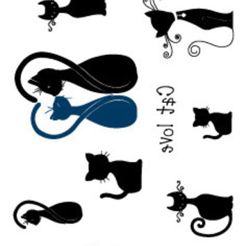 HC1183 Waterproof Temporary Tattoo Stickers Men And Women Sexy Of The Neck Behind Cats Personalized Flash Fake Tattoos