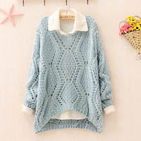Over Size Knit Sweater for Women Blue