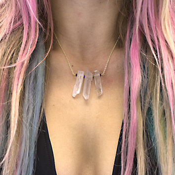 Triple Clear Crystal Necklace