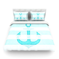 "Monika Strigel ""Stone Vintage Aqua Anchor"" Queen Cotton Duvet Cover - Outlet Item"
