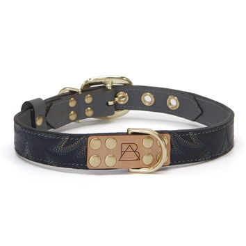 Gray Dog Collar with Navy Leather + Blue Stitching