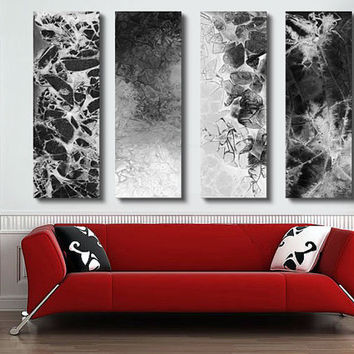 Huge abstract Painting, - 4 panel CUSTOM Abstract Wall art, Large abstract artwork, - Black and White