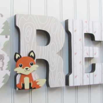 Woodland Letters, Woodland Animals, Fox, Deer, Forest Animals, Nursery Letters, Woodland Nursery, Nursery Kids Room Decor, Baby Name, Wood