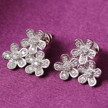 ANFASNI  Fashion Earing Three Flower Plated Ear Stud Jewelry High Quality Leaf Ear Stud Earrings For Women -03328