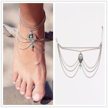 1PC Hot Sale Summer Ankle Bracelet Bohemian Foot Jewelry Turquoise