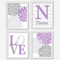 Baby Girl Nursery Wall Art Lavender Gray Purple Personalized Art Flower Burst Girl Room Floral Wall Decor Baby Girl Flower Wall Decor Prints