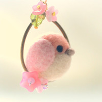Handmade bird necklace, needle felted bird pendant, soft sculpture wool bird on flower hoop, pink color, whimsical jewelry, gift under 25