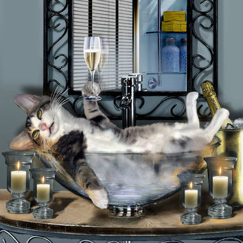 Tipsy Kitty Taken A Bubble Bath By Candlelight  Print By Gina Femrite