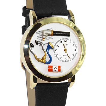 Doctor Black Leather And Goldtone Watch