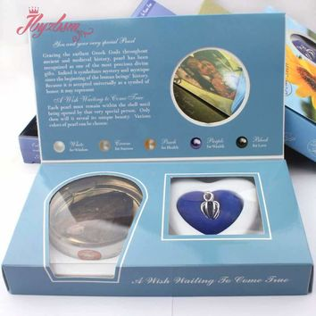 Natural Oyster Wish Freshwater Pearl Necklace Heart Love Pendant Mysterious Surprise Jewelry 1 Set Gift