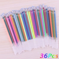 36Pcs / Set 36 colors a set flash ballpoint gel pen highlighters refill color full shinning refills painting ball point pen