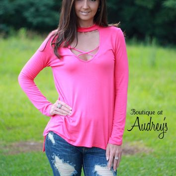 BLACK FRIDAY SPECIAL Fuchsia Choker Neck Tunic with Criss Cross Detail