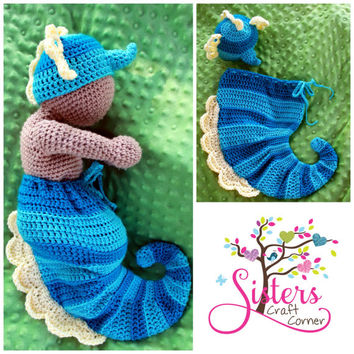 Crochet Newborn Seahorse Hat & Cocoon Set - Newborn, Baby, Halloween Costume, Baby Set, Crochet Photo Prop, Newborn picture prop Sea Horse