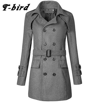 T-Bird Trench Caot Men 2017 Coat Male Sweater Knitting Jacket Men Double Breasted Long Section Brand Outwear Men Cotton Jackets