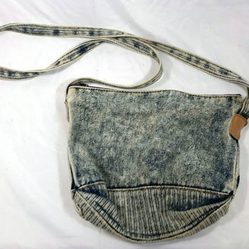 Vintage Acid Wash Denim Purse/1980s Acid Wash Small Purse/Acid Wash Blue Handbag/Hipster Teen Acid Wash Denim Purse