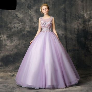 Lilac Dresses Lace Applique Floral Ball Gown Sleeveless Debutante Sweet Dress