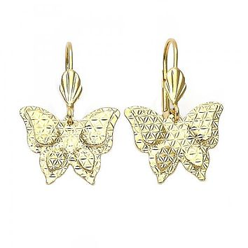 Gold Layered 5.066.013 Dangle Earring, Butterfly and Flower Design, Diamond Cutting Finish, Gold Tone