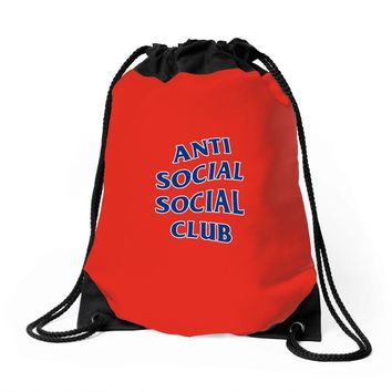 anti social club Drawstring Bags