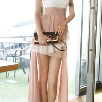 Color Block Ruffled Strapless Asymmetric Dress