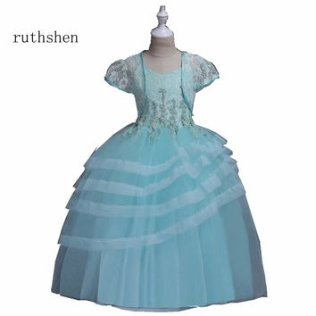 ruthshen Floor Length In Stock Real Photo Princess Pink/Blue/Purple/Gray Ball Gown Spaghetti Straps Flower Girl Dresses 2018