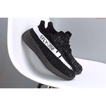 """Adidas"" Fashion Casual Women Yeezy Boost Sneakers Running Sports Shoes Black+White G"