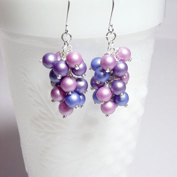 SALE thru Feb 2 Blue Pink Purple Pearl Drop Earrings, Valentines Day Jewelry, Cluster Earrings, Mom Sister Jewelry, Wedding, Gift, Cocktail
