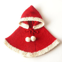 Red Hooded Poncho / Alpaca Baby Sweater / Santa Cape / Mrs.Claus Capelet / Boy Girl Christmas Photo Prop / 6-12 months / Ready To Ship