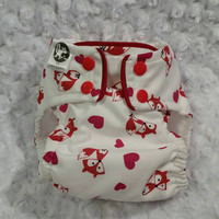 Valentine Foxes and Hearts All In One (AIO) Cloth Diaper - One-Size or Newborn, S, M, L